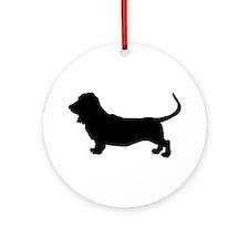 Basset Hound Silhouette Ornament (Round)