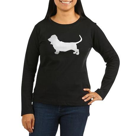 Basset Hound Silhouette Women's Long Sleeve Dark T