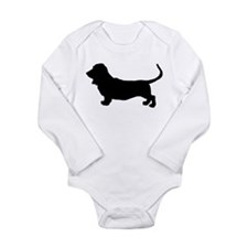 Basset Hound Silhouette Long Sleeve Infant Bodysui