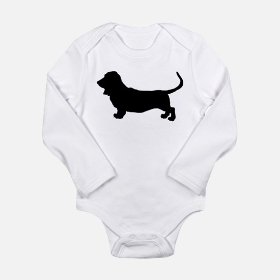 Basset Hound Silhouette Long Sleeve Infant Bodysui