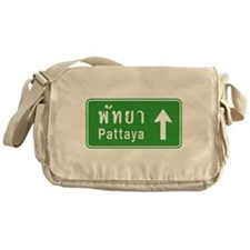 Pattaya Thailand Highway Sign Messenger Bag