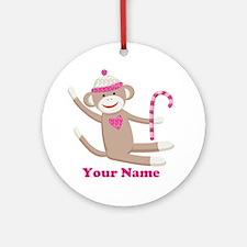 Custom Christmas Sock Monkey Ornament (Round)
