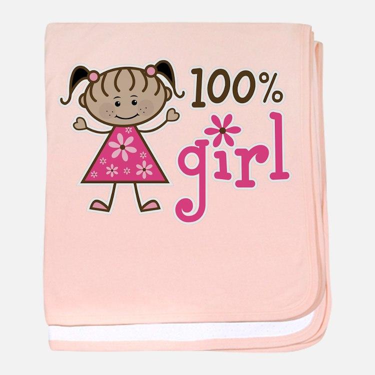 Stick Figure 100% Girl baby blanket