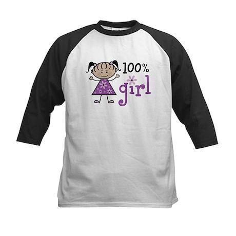 Stick Figure 100% Girl Kids Baseball Jersey
