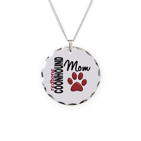 Redbone Coonhound Mom 2 Necklace Circle Charm