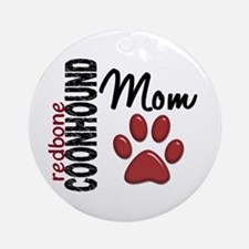 Redbone Coonhound Mom 2 Ornament (Round)