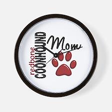 Redbone Coonhound Mom 2 Wall Clock