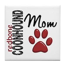 Redbone Coonhound Mom 2 Tile Coaster