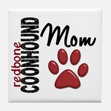 Redbone Coonhound Mom 2 Tile Coaster