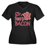 Sir France Is Bacon Women's Plus Size V-Neck Dark
