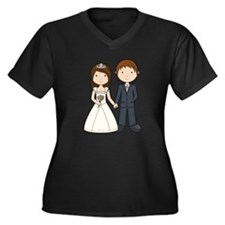Wedding Couple Women's Plus Size V-Neck Dark T-Shi