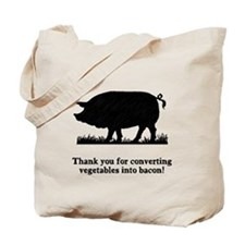 Pig Vegetables Into Bacon Tote Bag