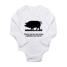 Pig Vegetables Into Bacon Long Sleeve Infant Bodys