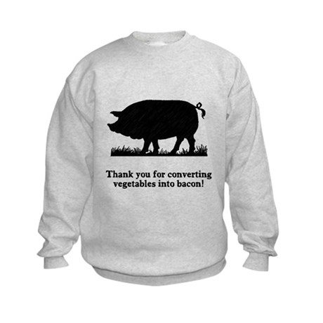 Pig Vegetables Into Bacon Kids Sweatshirt