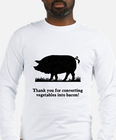Pig Vegetables Into Bacon Long Sleeve T-Shirt