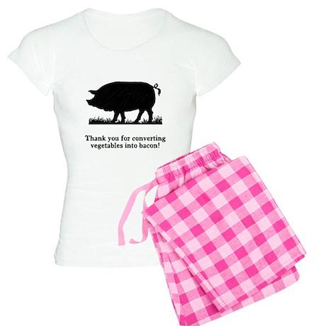 Pig Vegetables Into Bacon Women's Light Pajamas