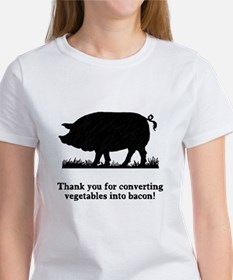 Pig Vegetables Into Bacon Tee