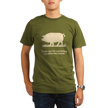 Pig Vegetables Into Bacon Organic Men's T-Shirt (d