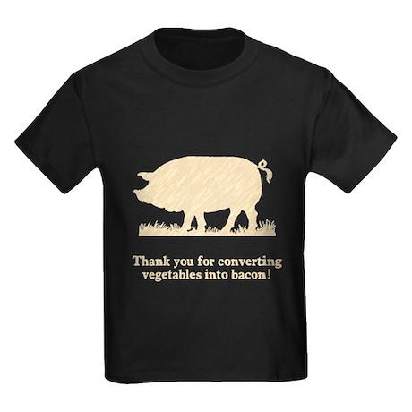 Pig Vegetables Into Bacon Kids Dark T-Shirt