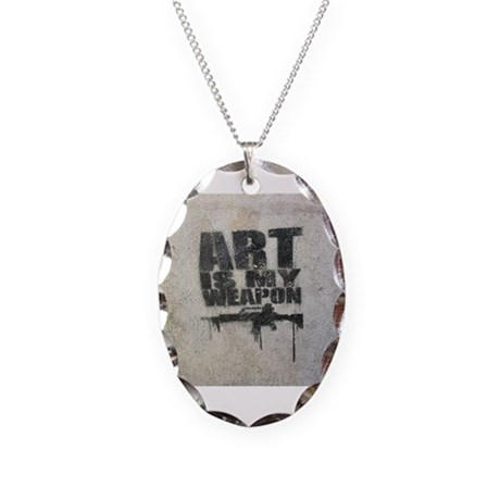 Art is my Weapon Necklace Oval Charm