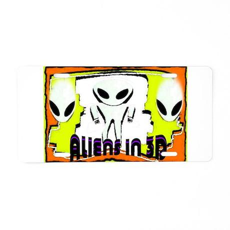 aliens in 3D Aluminum License Plate