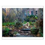 Autumn yard with cat Small Poster