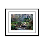 Autumn yard with cat Framed Panel Print