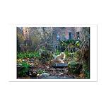 Autumn yard with cat Mini Poster Print