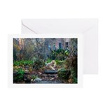 Autumn yard with cat Greeting Card