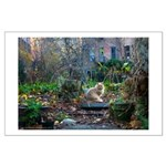 autumn yard with cat Large Poster