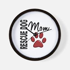Rescue Dog Mom 2 Wall Clock
