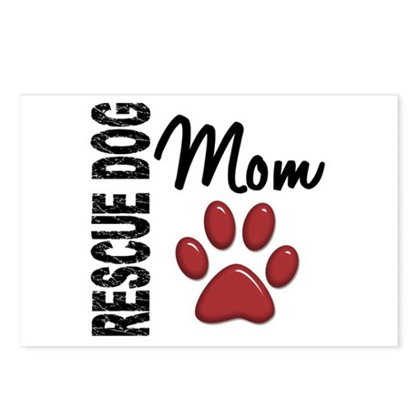 Rescue Dog Mom 2 Postcards (Package of 8)
