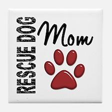 Rescue Dog Mom 2 Tile Coaster