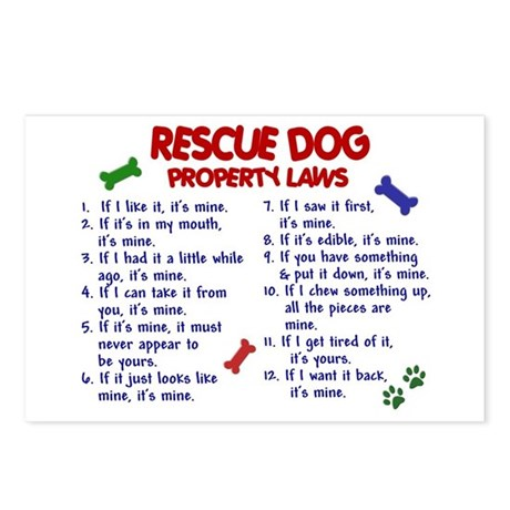 Rescue Dog Property Laws 2 Postcards (Package of 8