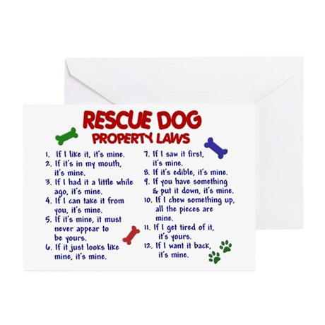 Rescue Dog Property Laws 2 Greeting Cards (Pk of 2