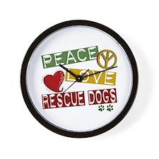 Peace Love Rescue Dogs Wall Clock