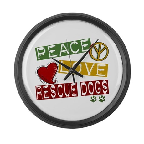 Peace Love Rescue Dogs Large Wall Clock