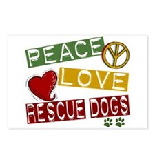 Peace Love Rescue Dogs Postcards (Package of 8)