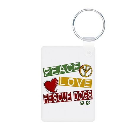 Peace Love Rescue Dogs Aluminum Photo Keychain