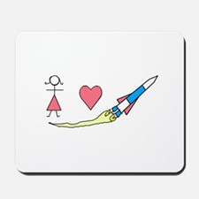 Girls Heart Rockets Mousepad