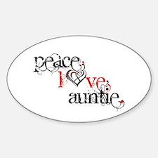 Peace Love Auntie Sticker (Oval)
