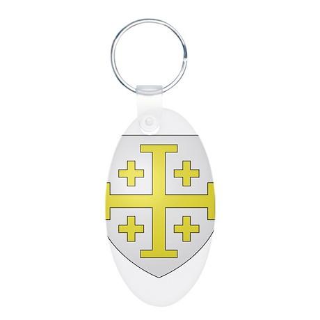 Kingdom of Jerusalem Aluminum Oval Keychain