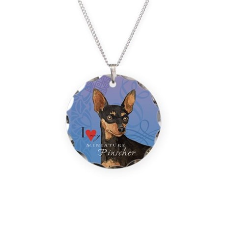 Miniature Pinscher Necklace Circle Charm