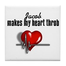 Jacob makes my heart throb Tile Coaster