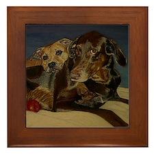 Doberman & Pitbull Dog Framed Tile