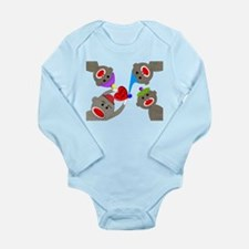 Sock Monkey Long Sleeve Infant Bodysuit