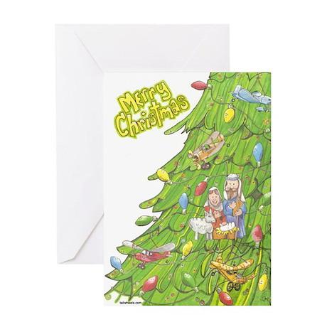 Christmas Airplane Tree Greeting Card
