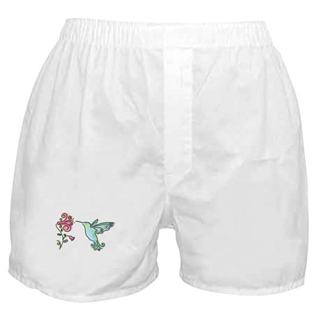 Hummingbird and Flower Boxer Shorts