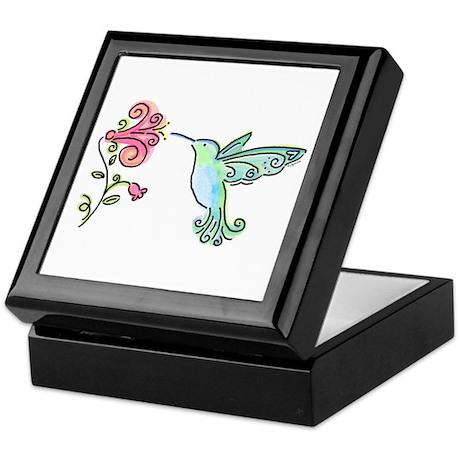 Hummingbird and Flower Keepsake Box