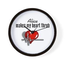 Alice makes my heart throb Wall Clock